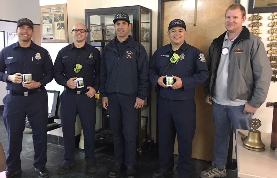 Pictured far right is Fillmore Rotary President Andy Klittich presenting a Rotary mug to the firemen who spoke at last week's meeting about the new County Fire Station, currently in progress. This station will have six bays for trucks, fire and rescue, sleeping room, kitchen and a training room. They will be able to hold all of their training and drills there instead of having to travel to other stations. It will also have available space for staging in case of a large fire. When they do move from the Old Telegraph Road station they will lease it to the Forest Service. Photo courtesy Martha Richardson.
