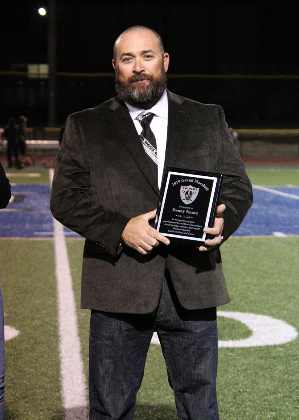 Danny Nunez, Raiders Grand Marshal for 50th year of commitment to Fillmore's youth.