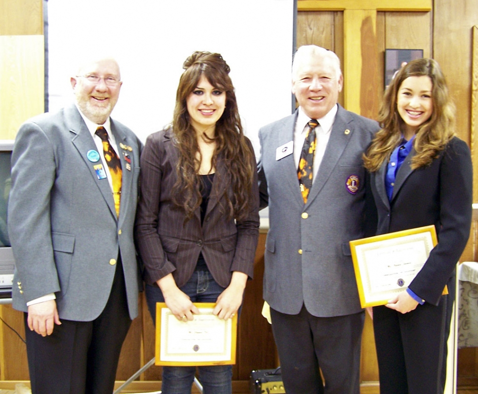 Pictured above Natalie Garnica (Fillmore), Olympia Tril (Oxnard), Lion Jim Austin and District Governor Bill Dunlevy. Garnica and Tril are the Lions Club student speaker contest winners. The contest was held on Wednesday April 2 at the Trinity Episcopal Church.