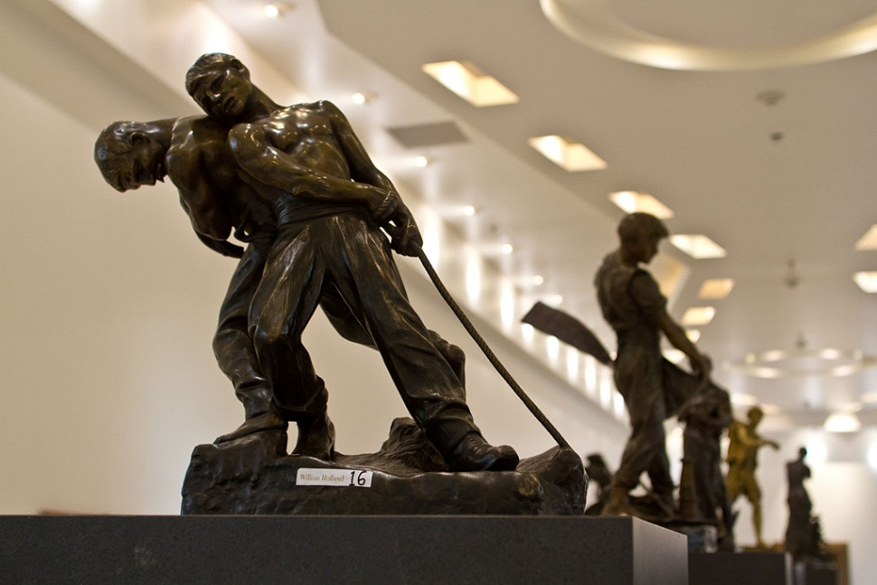"""Men Pulling Rope"" bronze sculpture by Henri Louis LeVasseur"