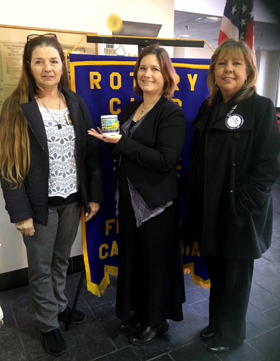 Fillmore Rotary Club Updated on City Projects. President Julie Latshaw, speaker Roxanne Hughes and Program Chair Carrie Broggie Roxanne Hughes, the City of Fillmore Engineer updated the Club on projects she is working on including the new traffic signal on Mountain View/126, more sidewalks and paving local streets.