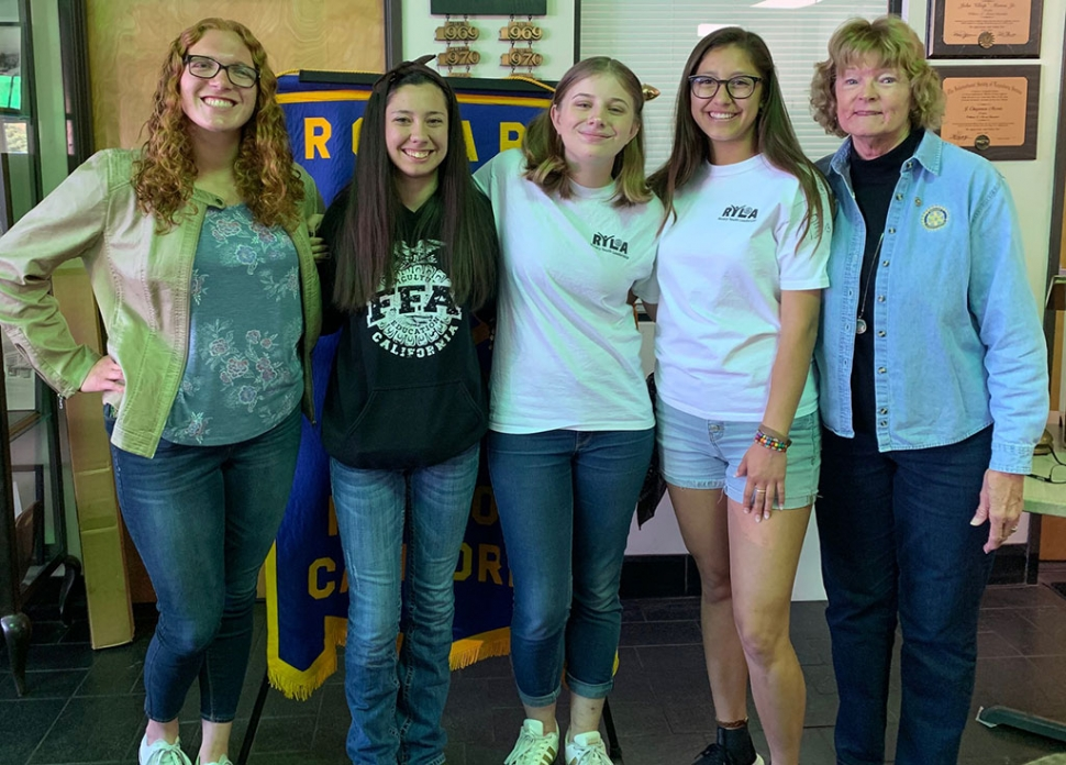 Fillmore Rotary Club hosted Isabella Palazuelos, Natalie Parrish, Erin Overton, and Tori Gonzales, students who attended Rotary Youth Leadership Awards Camp (RYLA) held in Ojai. The students spoke of their experiences with enthusiasm and excitement, and thanked Rotary for giving them the opportunity to attend. Martha Richardson (far right) is the RYLA chair for the club. Photo courtesy Martha Richardson.