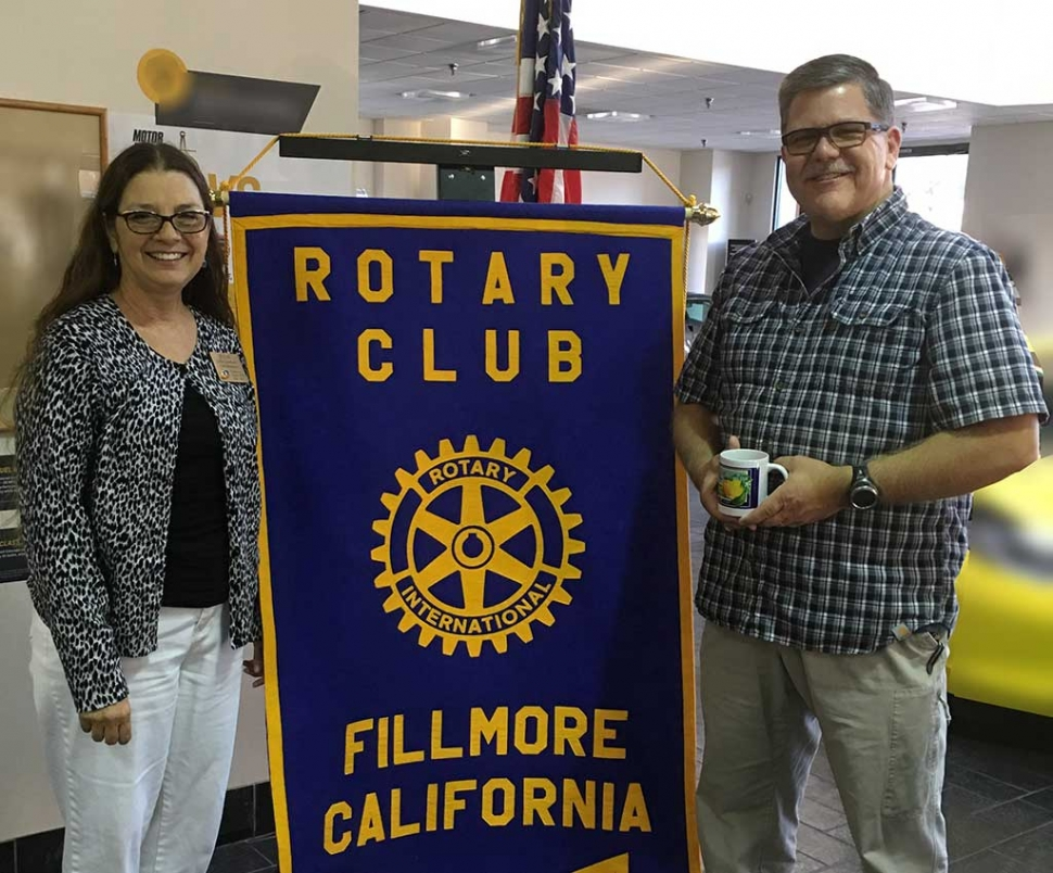 Rotary President Julie Latshaw presented a Rotary mug to Sergeant Kevin Vaden. He informed the Club about the Public Safety Day/Bicycle Rodeo which will be held at the Fillmore Middle School, on September 24, from 9-12. It will be an enjoyable event for children and adults.
