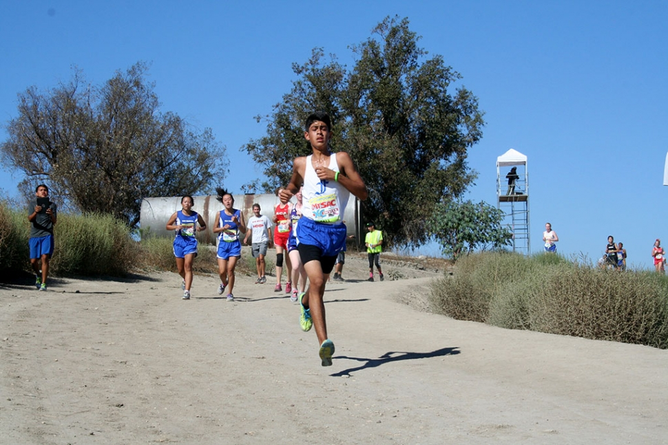 Johnny Martinez wins the Sophomore Boys Race at the Mt. Sac Invitational this past Friday.
