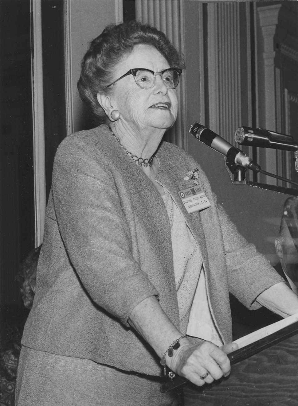 Dr. Ethel Percy Andrus - Educator, Social Innovator, Humanitarian. Dr. Ethel Percy Andrus, Founder and President of NRTA-AARP, testifying before the Kefauver Committee on Hearing Aids, April 19, 1962. Photo courtesy of Archives of Ojai Valley Museum.