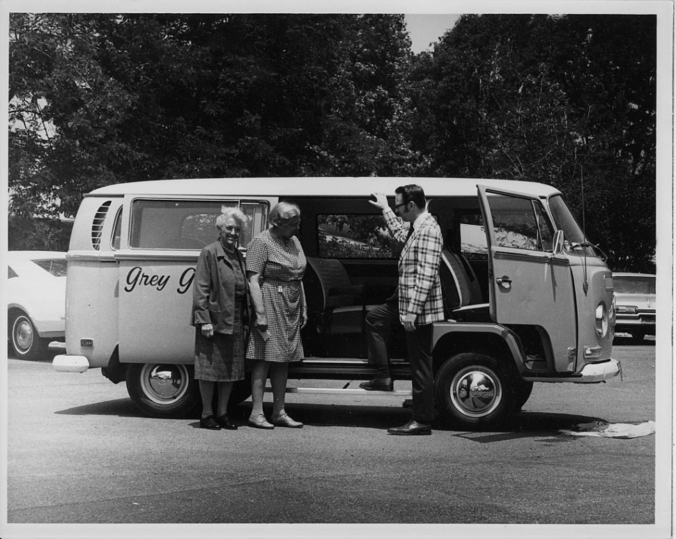 Grey Gables Mini Van - To service the valley's growing senior population, Gray Gables administrator Dick York proposed several NRTA-AARP outreach programs: meals-on-wheels, a senior center, a retired senior volunteer program, and a mini-van transportation service. Photo courtesy of Archives of The Gables of Ojai.