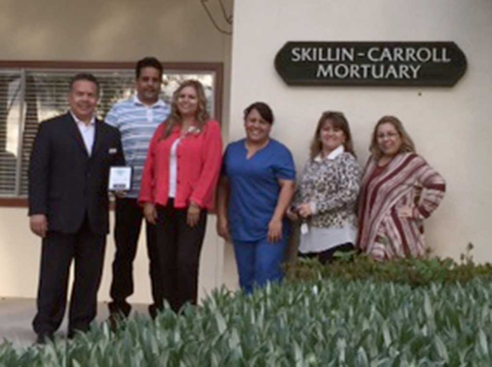 Skillin-Carroll Mortuary, a Fillmore Chamber of Commerce member, receives their membership plaque. They are committed to helping their client families with compassionate, professional and personal service. Pictured from left to right: Martin Guerrero, Ralph Jimenez, Ari Larson, Maura Gomez, Linda Vazquez and Irma Magana.