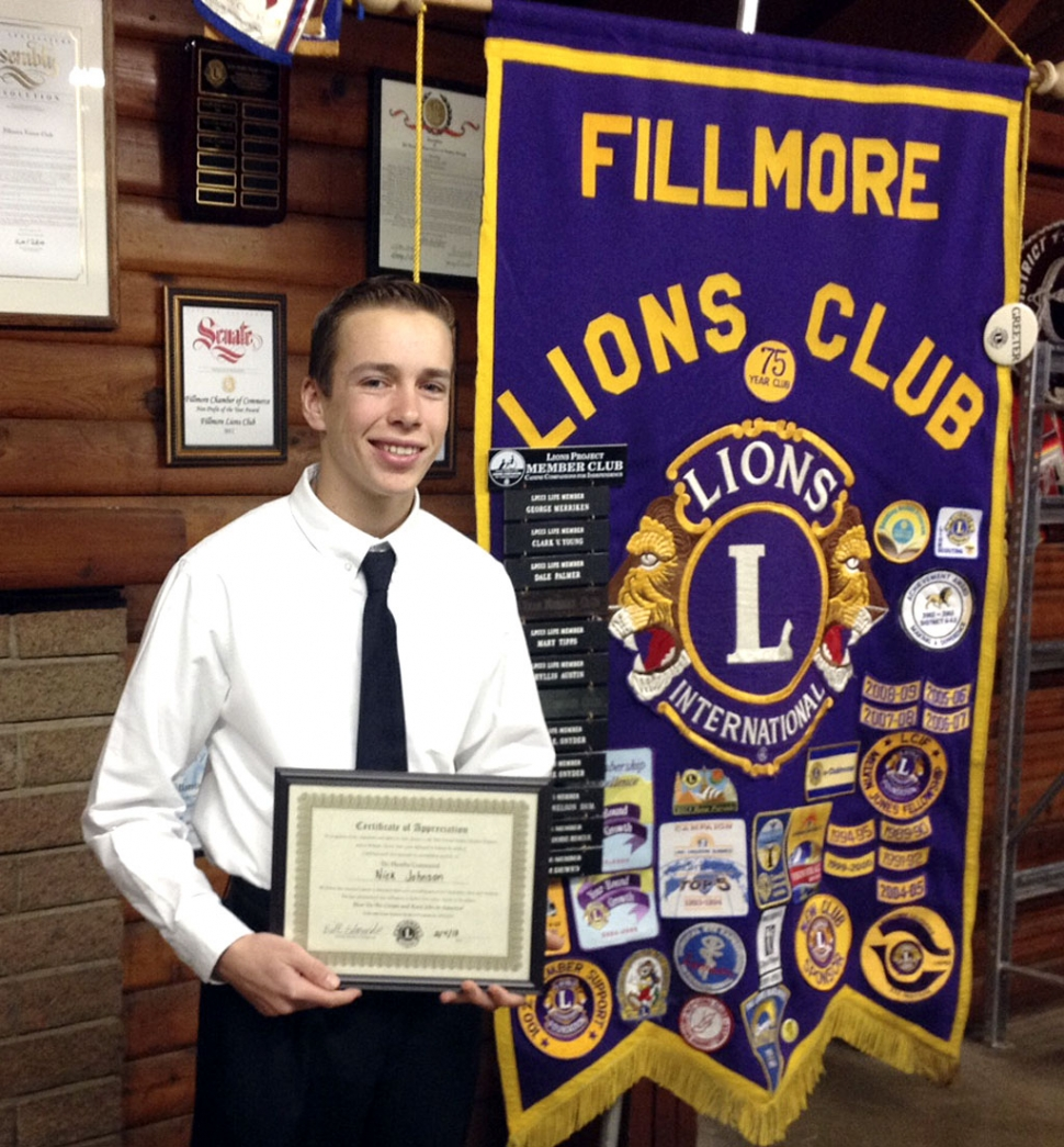 Fillmore Lions Club 2013 speech contest winner Nick Johnson holds his first place certificate.
