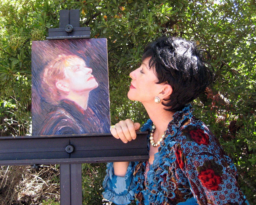 The Swan Queen: Retired prima ballerina, Lenore Hayden-Bigley (Nancy Jane Marie) develops cancer, and dreams of her illustrious past as she contemplates her portrait. Portrait painted by Eugene A. Tkachenko. Photo courtesy Francisca Beach.