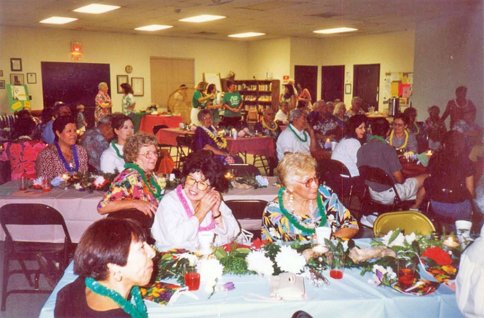 "A typical party at the Fillmore Senior Center, 1997. ""There were a lot of events like this, including a talent show that brought in a large crowd,"" said Dorothy Lynch, long time Fillmore resident, now residing in Texas. ""We seemed to have gatherings and parties for any ol' occasion. We once had a Christmas party that included Jim Caldwell playing Santa, with Nancy Bowlin as his helper."" Congratulations to the new Board--they're off to a great start!"
