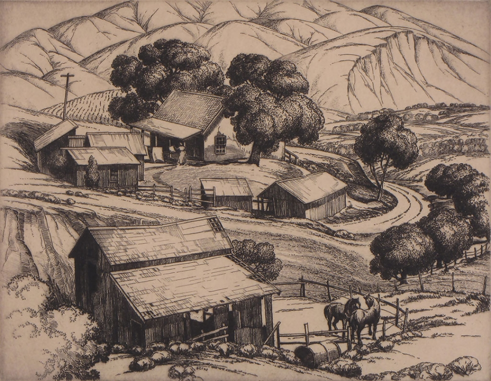 """Foothill Ranch"" by Cornelis Botke, 1936, etching on paper, 7.5"" x 9.5"""