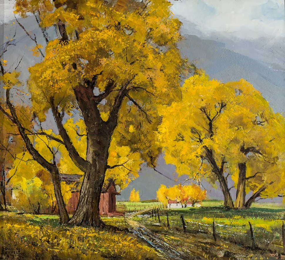"""Fall Trees Near Bishop"" by Douglas Shively, 1982, oil on board."