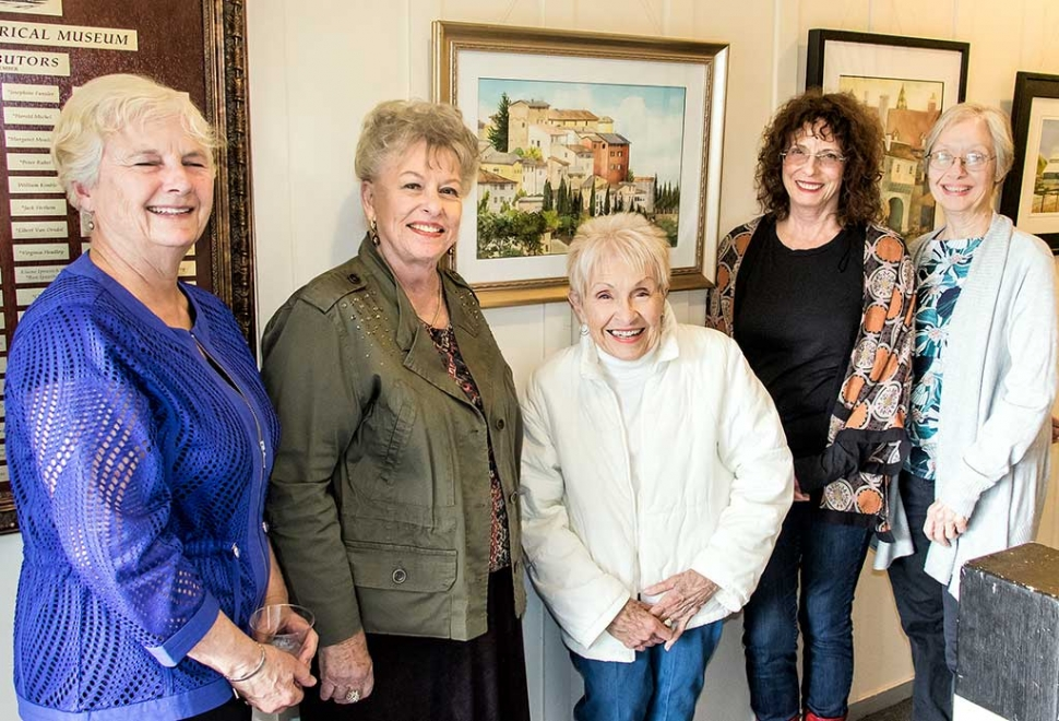 (l-r) Virginia Neuman, Luanne Hebner Perez, Judy Dressler, Lois Freeman-Fox, and Lady Jan Faulkner enjoying the art show at the Fillmore Historical Museum. Photo by Bob Crum.