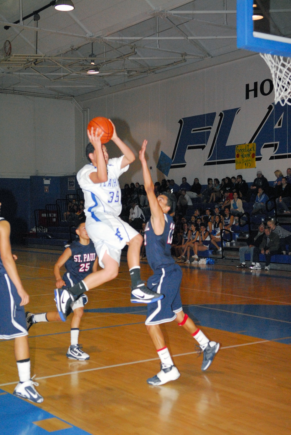 In the 1st Round CIF-SS game Division 4A Fillmore won 72-46. (pictured above) Chris De La Paz scored 8 points, 2 rebounds. Fillmore played solid defense all game and shot the ball well (31-52 from the floor). Angel Barajas scored 14 points, 11 rebounds, 4 assists. Corey Cole scored 13 points, 4 steals. Flashes Overall Record 18-8. Frontier League 8-2 (2nd place). Playoffs Record: 1-0.