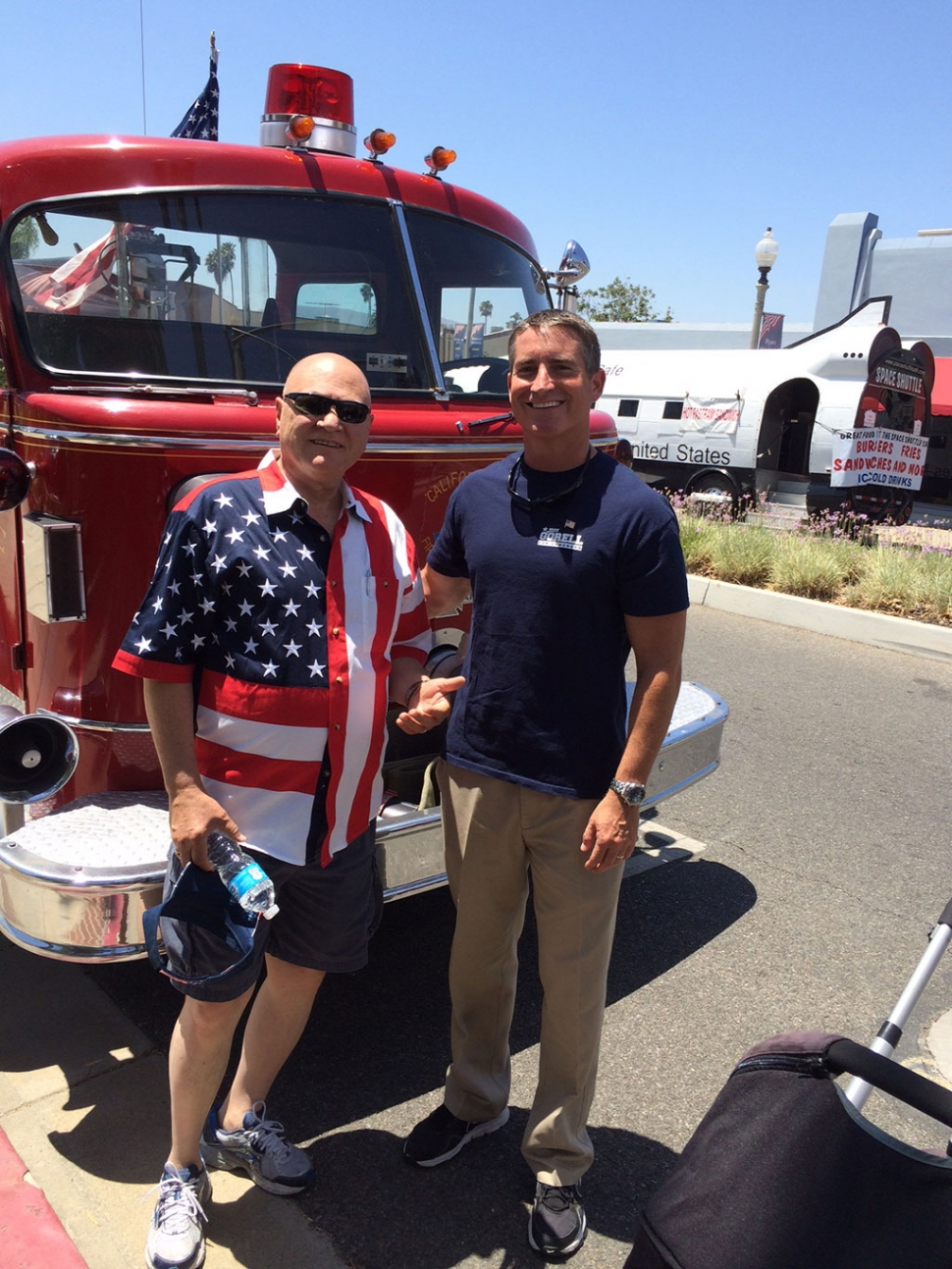 Assemblyman Jeff Gorell, right, posed for pictures with and greeted Fillmore residents at the 4th of July festival Friday. Gorell is running for Congress in California's 26th Congressional District. From Camarillo, Gorell was a criminal prosecutor, a military veteran, and university educator.