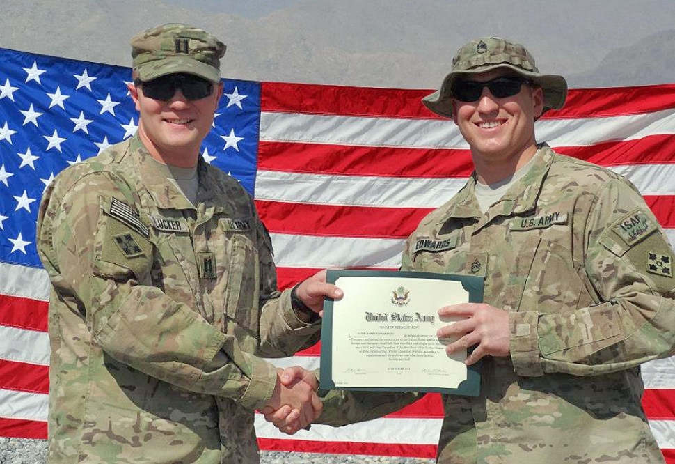 Buddy Edwards Reenlistment in Afghanistan.