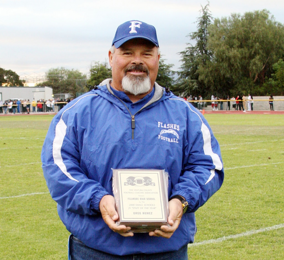 Greg Nunez and not pictured Matt Dann, were also awarded 2008 Small Schools J.V. Coach of the Year. The awards were given out at the East vs West football game held in Moorpark.