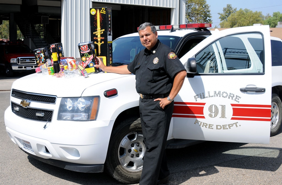 Fillmore Fire Chief Rigo Landeros stands by illegal fireworks that were confiscated last week. The fine for illegal fireworks is $1,100.