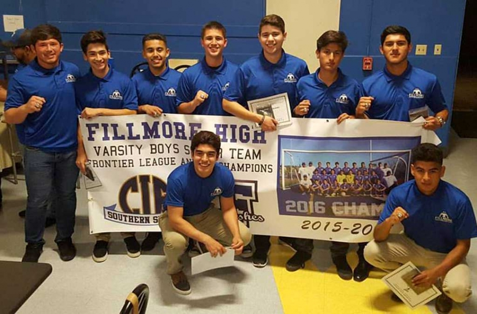 A special CIF Championship banner was made to honor the accomplishments of last year's 2015-2016 Flashes Boys Soccer Team