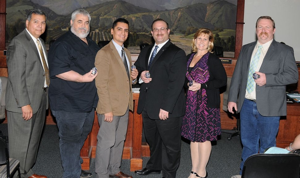 (l-r) Fillmore Fire Chief Rigo Landeros presented the Centennial Fire Badge to City Councilmember Steve Conaway, Mayor Manuel Minjares, Mayor Pro-tem Douglas Tucker, Councilmembers Diane McCall and Rick Neal.