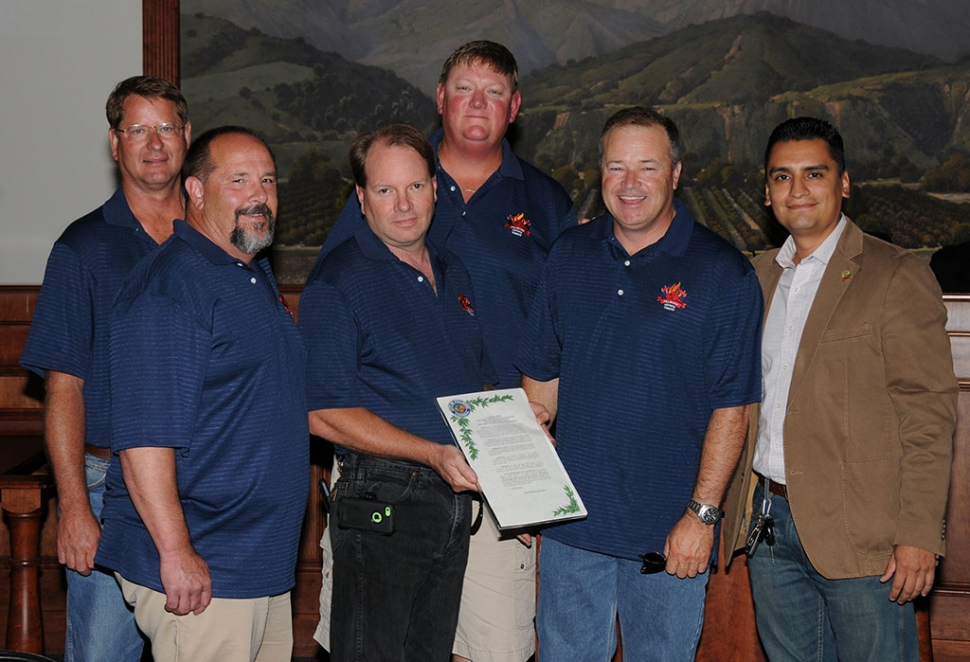 A Fillmore Fire Fighter Foundation Proclamation was presented by Mayo Manuel Mijares (right) to (l-r) Scott Klittich, Mike Bush, Scott Beylik, Mike Richardson, and Bill Morris for the generous contributions to Fillmore's Fire Department.