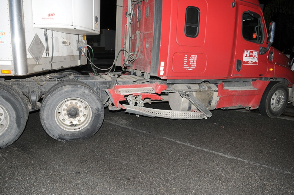 A collision occurred last Friday at the intersection of Highway 126 and C Street. The incident happened shortly before 9:30 p.m. when a late model Volkswagen sedan struck an 18-wheeler on the truck's right fuel tank. No fuel leakage was caused but the car suffered significant right front end damage. The truck-trailer appeared to be making a left turn onto C Street, No injuries were reported and the cause of the accident was undetermined at press time.