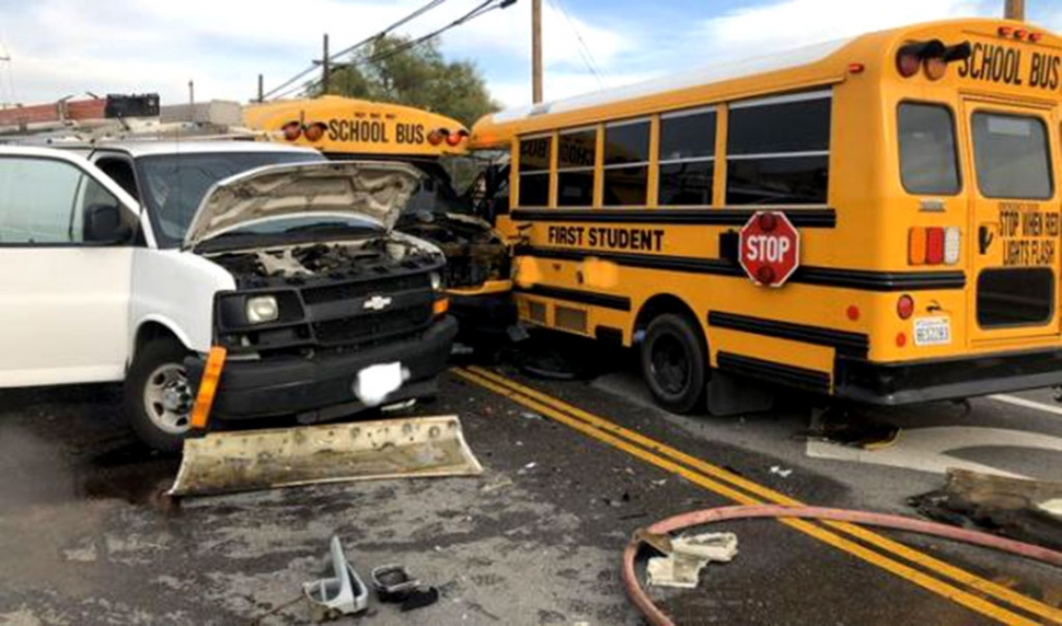On Tuesday, December 10th at 2:37pm, a traffic collision occurred involving a Chevrolet Express van and two Thomas school buses on Telegraph Road east of Cummings Road. (Photos courtesy Ventura County Fire PIO)