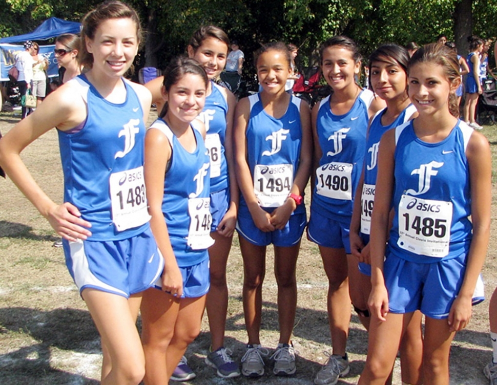 Pictured (l-r) Laura Garnica, Lucia Diaz, Anissa Magdelano, Amber Wilmot, Maria Villalobos, Iruma Trujillo, and Kiana Hope. Both Cross Country photo's courtesy of Joel Frias.