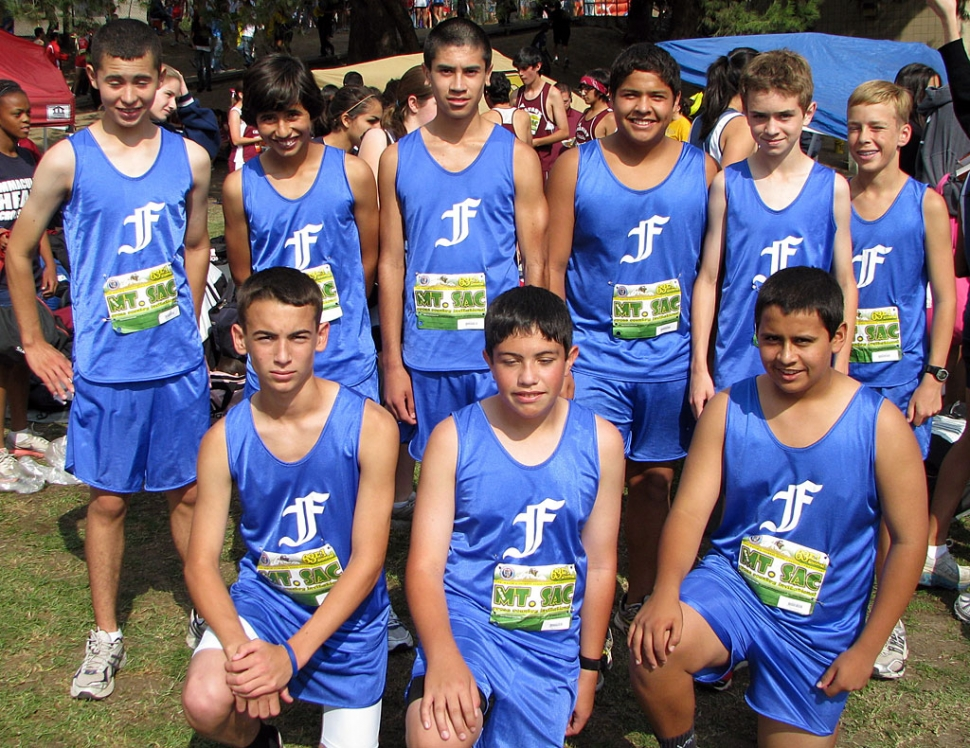 Freshmen Boys took 5th place at the Mt. Sac Invitational. Pictured Top (l-r) Anthony Larin, Frank Chavez, Jaime Valdovinos, Ricardo Gutierrez, Justin Beach, and Nicholas Johnson.
