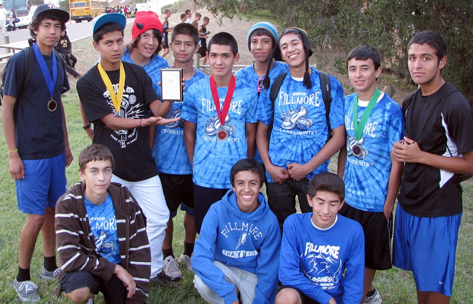 Boy's sophomore team took second in the small school division. Pictured (l-r) top row: Jovani Oregon, Lucio Trinidad, Javier Rodriguez, Armando Vidal, Sammy Martinez, Isaac Gomez, Jonathan Minero, and David Enriquez. Bottom row: Tyler Hackworth, Anthony Meraz, and Vincent Chavez. Varsity boys, Alexander Frias, Alex Gonzalez, Jordan Mendoza, Hugo Valdovinos, Adrian Mejia, Anthony Rivas and Juan Mariscal, finished third in the Small Schools division. Freshman Boys, Nicolas Frias, Anthony Larin, Nicholas Johnson, Frank Chavez, Joseph Orozco, Ricardo Gutierrez, Adael Mejia and Khristian Felix, and Jaime Valdovinos, finished second.
