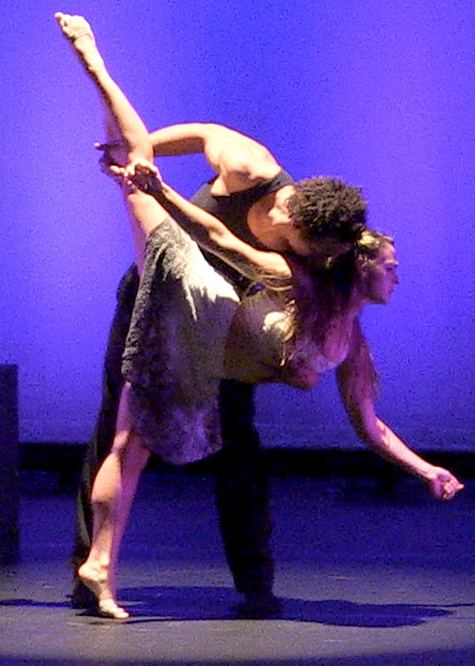 California Lutheran University alumna Essence Barton of Thousand Oaks and student Seta Wainiqolo of Moorpark performing in the spring dance concert.