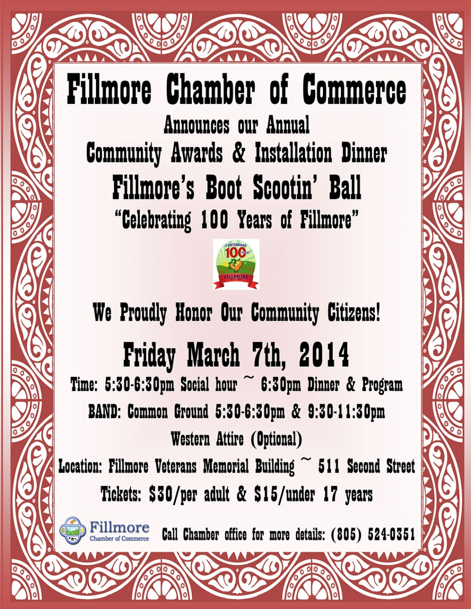 Fillmore Chamber Of Commerce Annual Community Awards