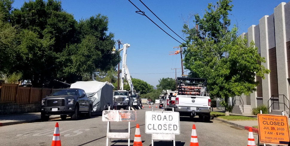 On Monday, July 20th at 9:30am, crews blocked off part of 3rd Street near Fillmore First Assembly of God Church to work on powerlines in the area.