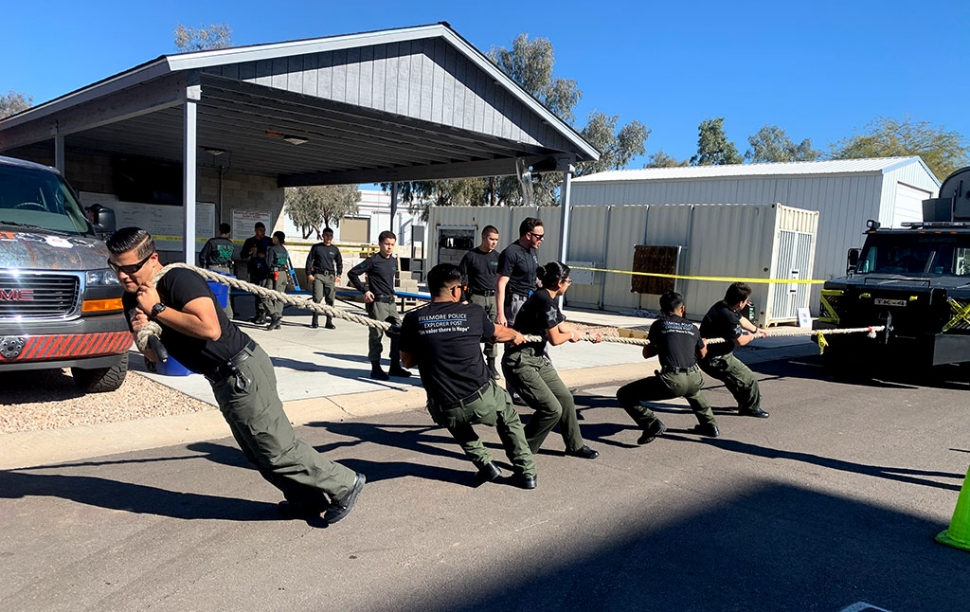 Pictured is the Fillmore Police Explorer post during their participation in the Bearcat Pull at the Chandler Arizona Police Department Tactical Explorer Competition. Fillmore finished 3rd in two competitions, the Explorer Bungee Pull and the Explorer Advisor Range. Photos courtesy Ventura County Sheriff Department.