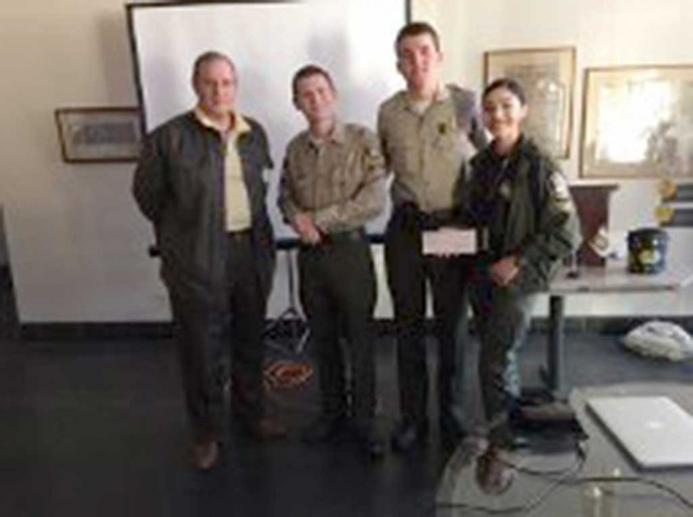 Three members of Explorer Post #2958 presented a video, at Rotary, on their recent competition. They also expressed their appreciation for the way the Sheriff 's Department prepares them for these experiences. Rotary donated $750 toward this program. Pictured are Kyle Wilson, Matt Hammond, Nick Bartels and Danielle Ramirez.
