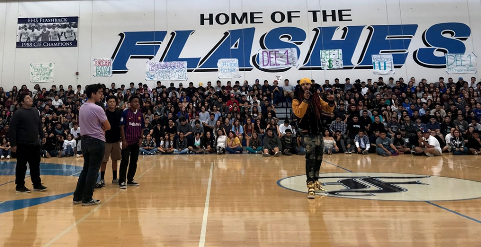 Former educator and hip-hop artist Dee-1 at Fillmore High. Photo courtesy Katrionna Furness