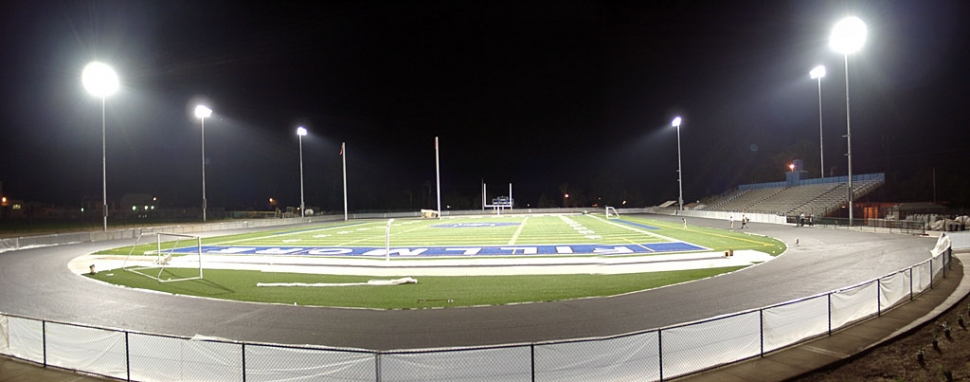 The new lights at the Football Field.