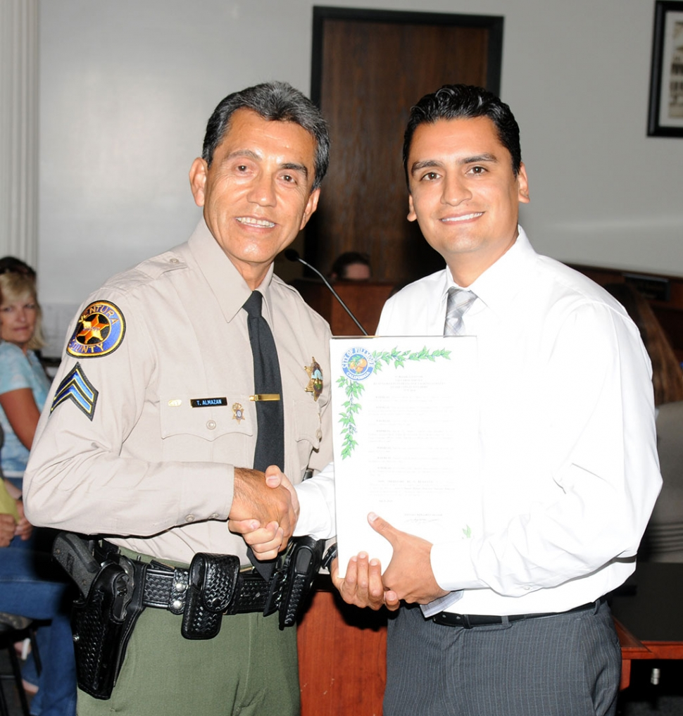 In Recognition Of Valuable Service, a Proclamation was presented to Senior Deputy Detective Taurino Almazan by Mayor Manuel Minjares on behalf of the City of Fillmore on July 8th at Council. Almazan served