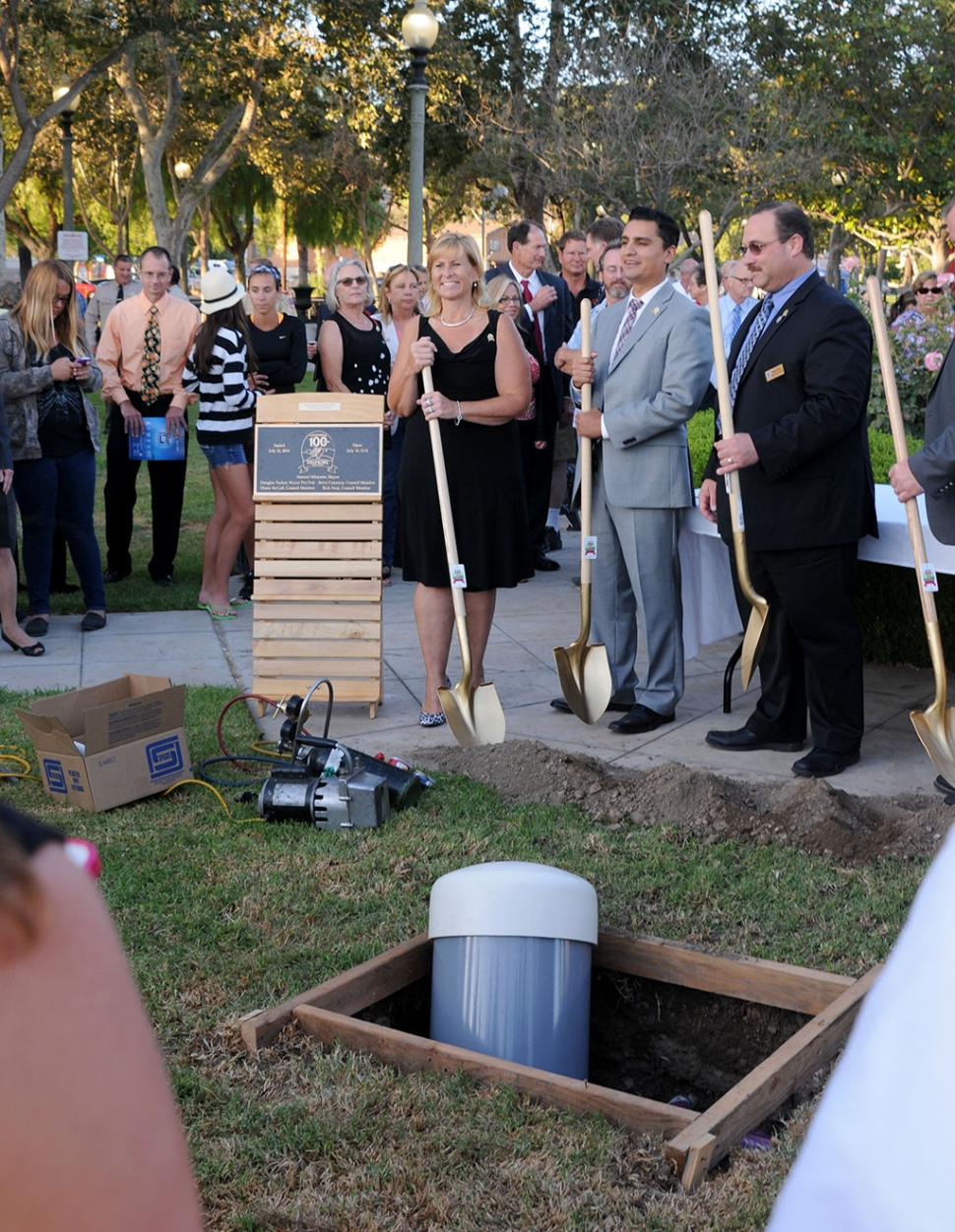 In honor of Fillmore's Centennial anniversary, a time capsule was buried in Central Park. Pictured with the capsule are Councilmembers Diane McCall and Douglas Tucker (right), with Mayor Manuel Minjares center. All councilmembers were present.