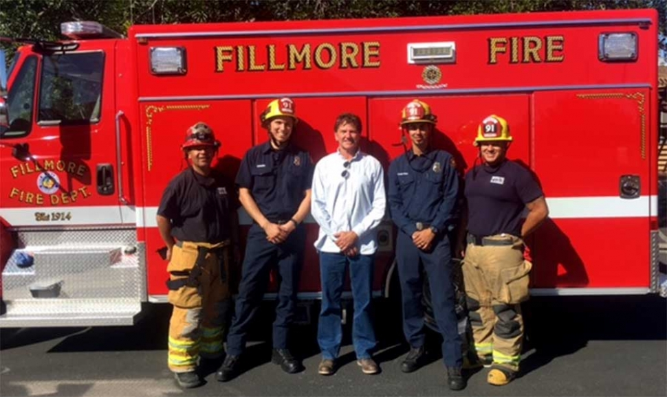 The Fillmore Fire Foundation would like to acknowledge and thank Chris Balden from the Balden Ranch Company for a recent generous donation. Pictured left to right; Assistant Chief Bill Herrera, Firefighter Greg Swirm, Chris Balden, Firefighter Jordan Castro, Engineer Mike Salazar. Submitted by Fillmore Fire Chief Keith Gurrola.