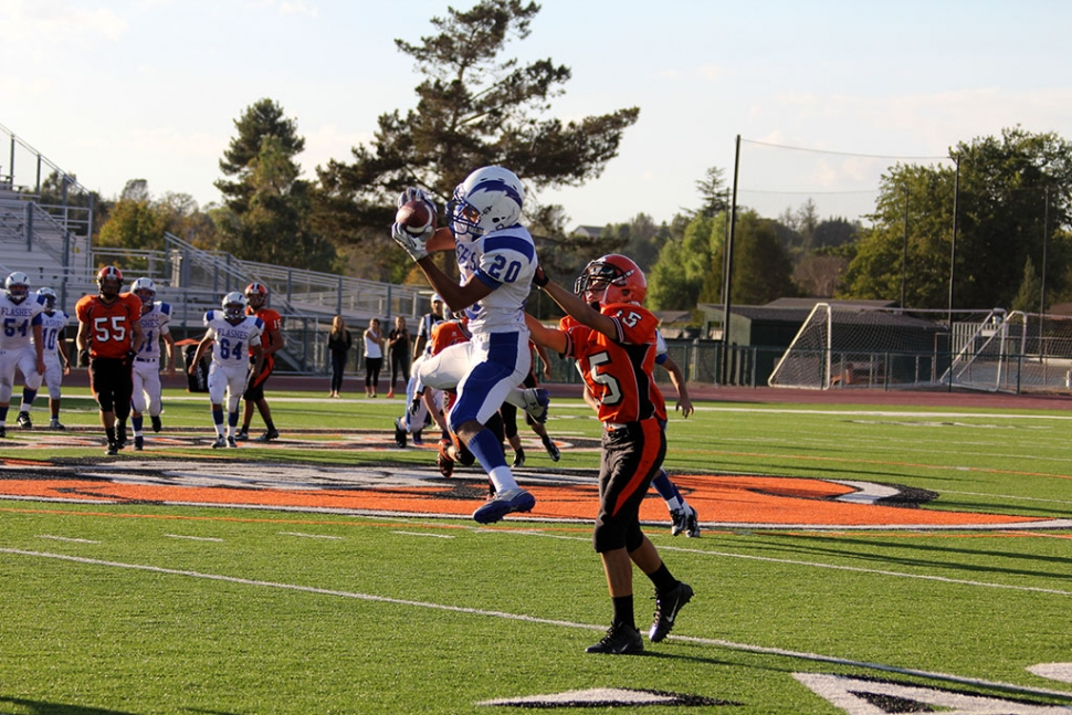 #20 George Tarango Making a first down catch in J.V.'s first loss in 2 and a Half years