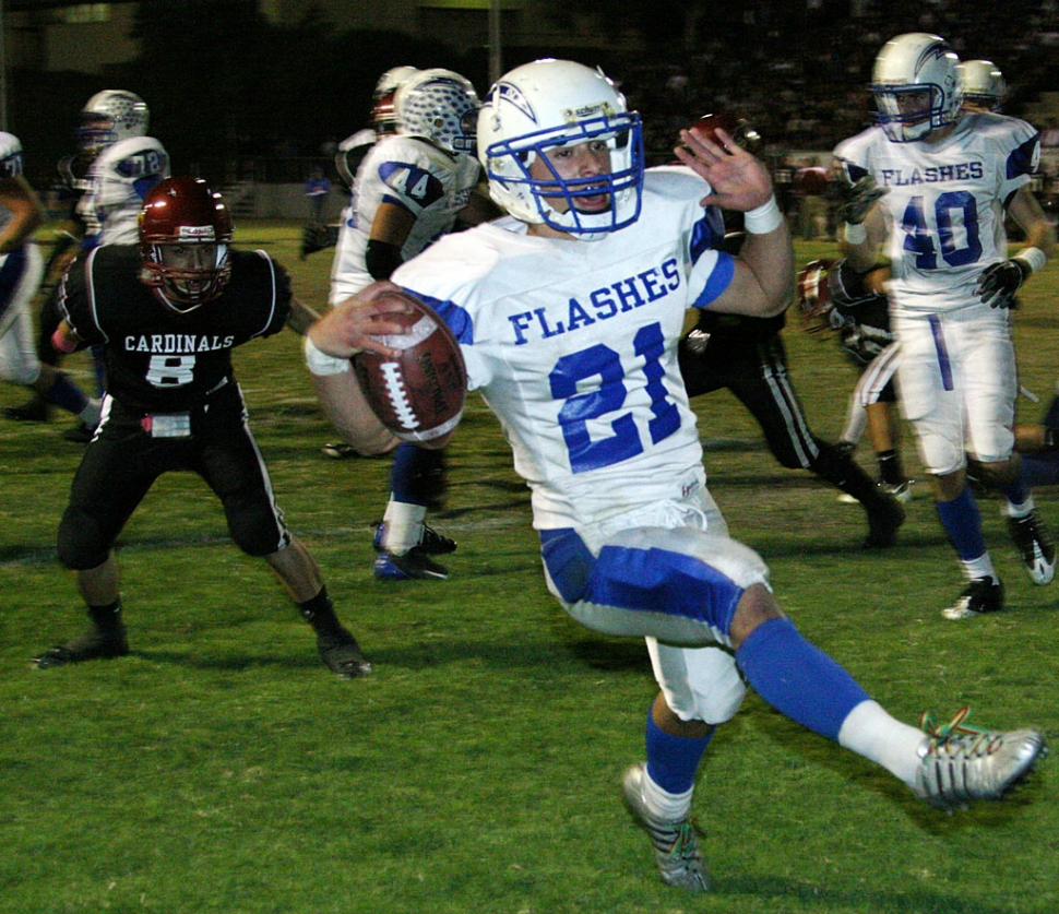 Nick Paz #21 had 20 carries for 90 yards and two rushing touchdowns. Paz also intercepted the ball in the last seconds of the game to clinch the win for Fillmore.