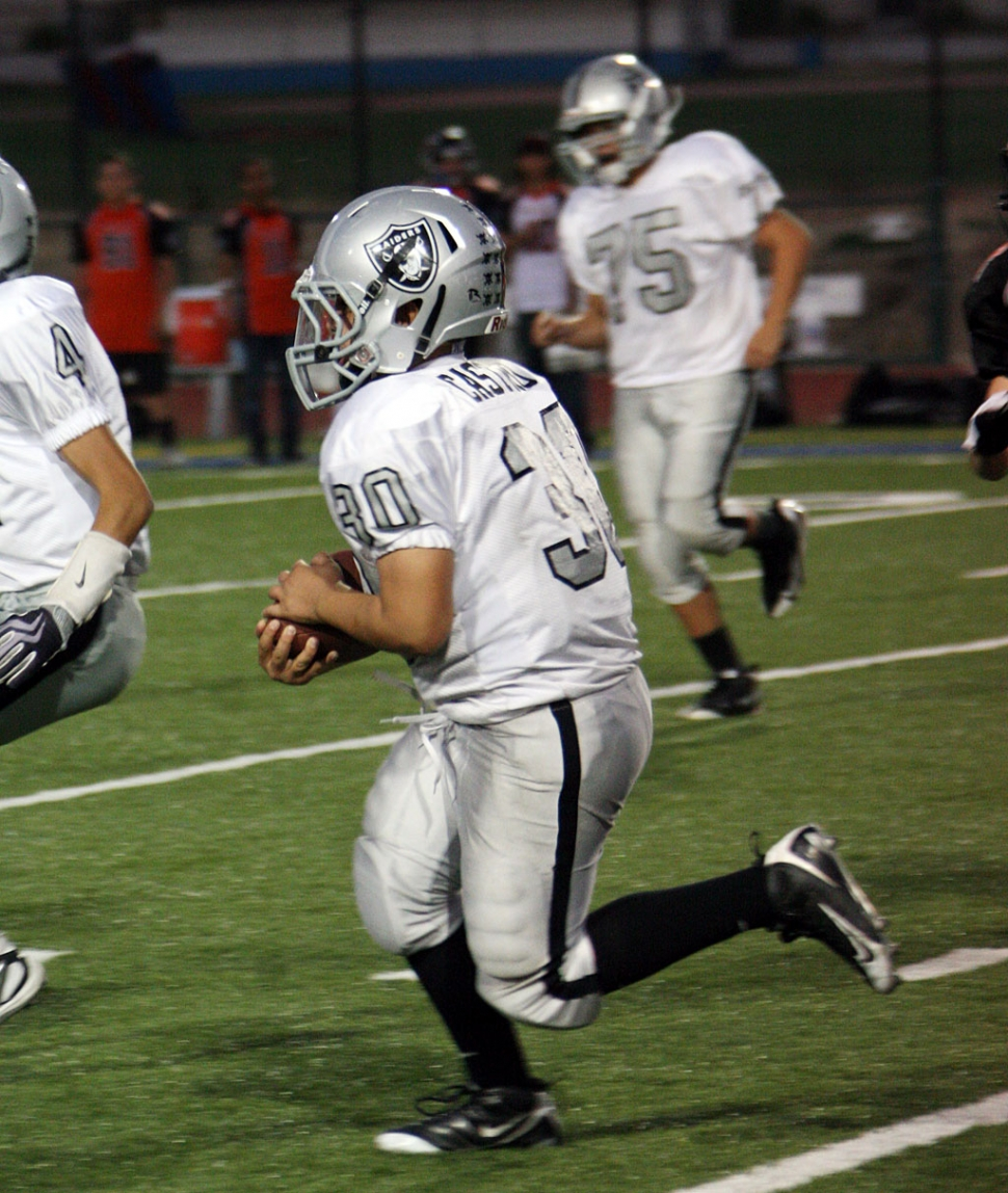 #30 of the Fillmore Raiders' Senior team did a great job running the ball last Saturday.