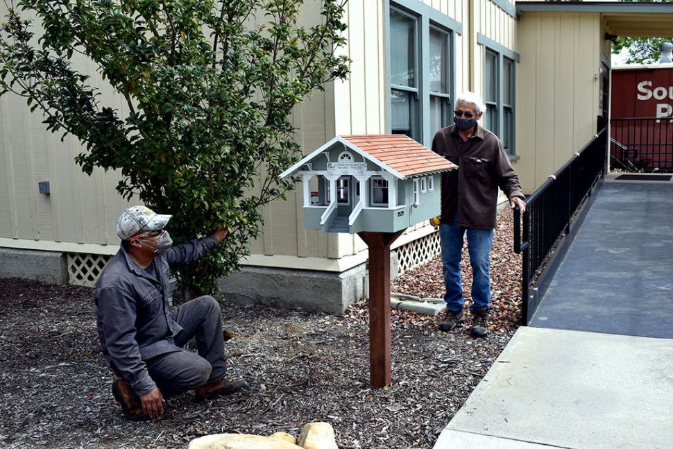 This past weekend Ramon Garcia and Jack Stethem finished installing Fillmore's newest Little Free Library just outside the Fillmore Historical Museum. Photos courtesy Fillmore Historical Museum.