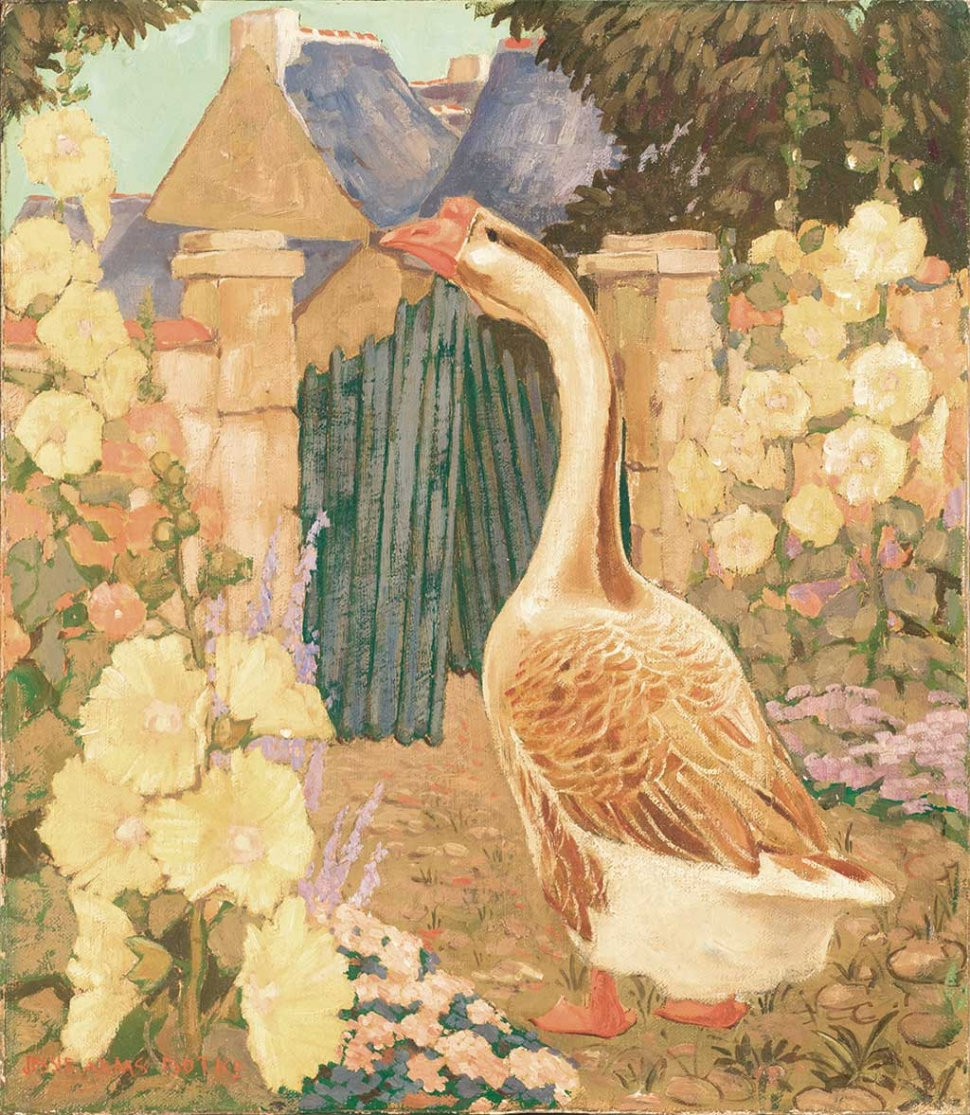 """Goose at Gate"" by Jessie Arms Botke, c. 1920s, oil on board, 16"" x 14"" (available in the live auction)."