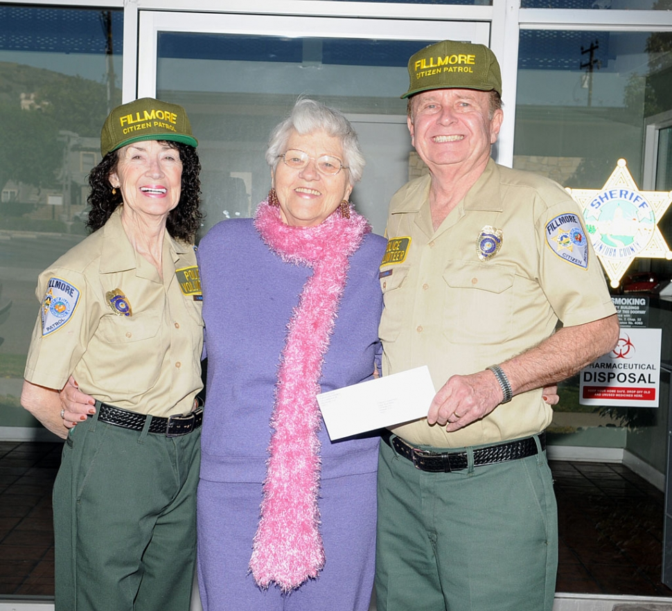 On Monday, February 25, the Fillmore Citizens Patrol presented Raelene Chaney (Grad Nite Live) with a donation of $1000 to help fund the Grad Nite Live Cruise.