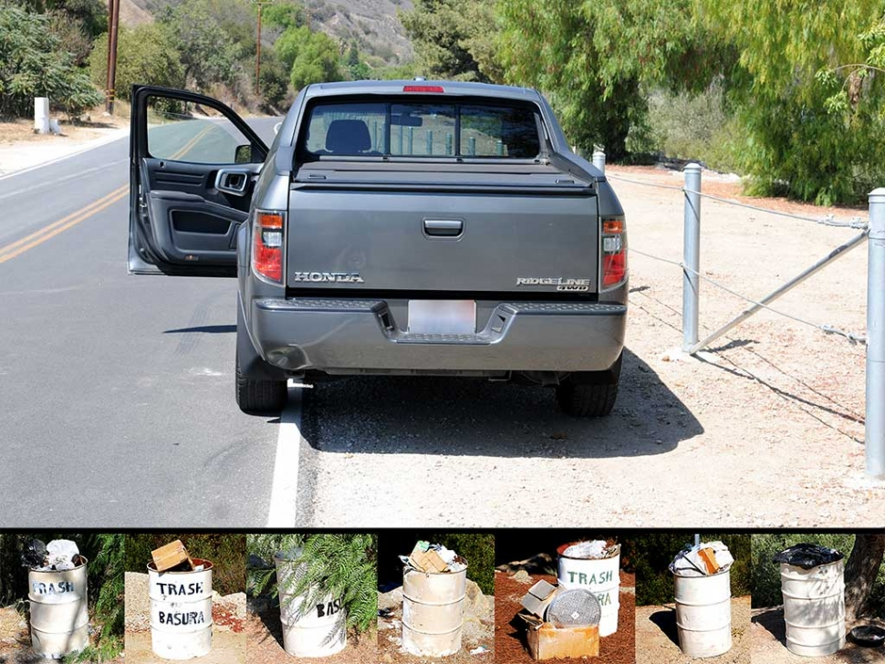 "[Editorial note: New Sespe Fence Discourages Tourism, Does Little for Trash Issue. (above) A vehicle parked parallel to the Sespe fence (too close to open passenger side door) is unsafe for driver's side activity. Although supervisor Long's letter states ""To clarify, the fence was installed far enough away from the edge of the roadway to allow for vehicle parking..."" the above photo shows otherwise. All new parking spaces must now be parallel, even if safe legal parking was possible, the fence severely reduces the total amount of parking spaces. Traditional parking spaces have been cut by more than two-thirds. Sespe Creek is designated as a national Wild and Scenic River and National Scenic Waterway. Its southernmost entry (trailhead) deserves a spacious place for vehicle parking. The fence should be removed, and in its place we should erect several Hi-Def cameras and impose strong fines for dumping trash. Also (above) photos taken on August 30th, 2016 of each trash can located at the end of Grand Avenue. Each can is full, some overflowing with trash. Materials found in each can dates to as early as January of 2016 indicating they have not been emptied for months.]"