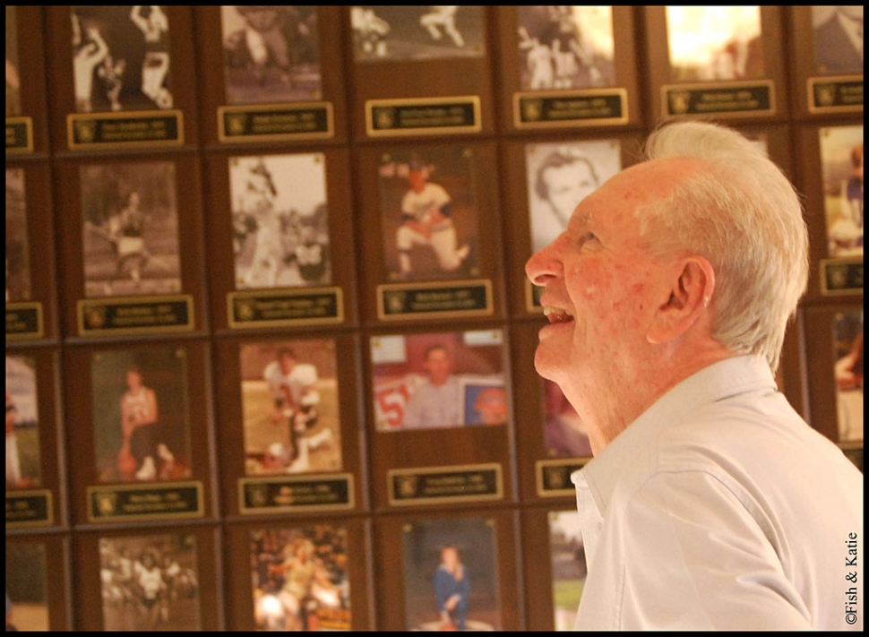 "Don ""Spider"" Hughes, Class of 1952, admires the F.H.S. Hall of Fame. Hughes was inducted this year, along with many others. [Hall of Fame photo's courtesy of Katie Boynton and Robert Fisher]"