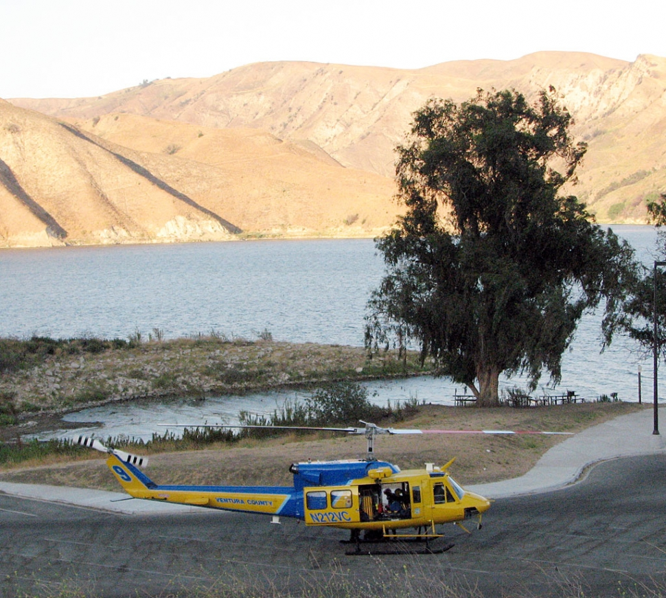 A Sheriff's helicopter was part of the search for a missing swimmer along with the Sheriff's Dive team at Lake Piru.