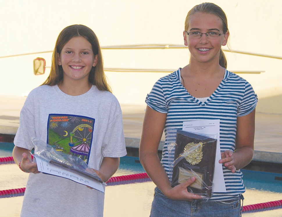 (l-r) Zoe Becher and Sophie Collins were presented the Coach's Award.